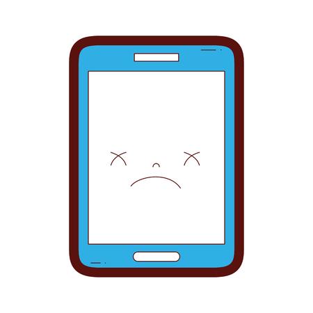 illustration vectorielle de couleur de ligne kawaii smartphone mignon visage sombre