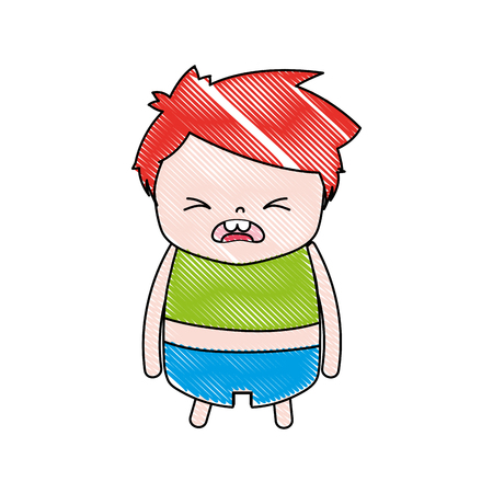 Grated boy with hairstyle design and pity face illustration.