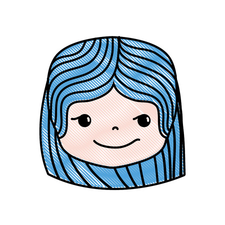 Grated girl head with hairstyle and rogue face vector illustration