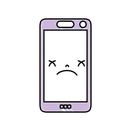 Grated smartphone cute sad face vector illustration Vettoriali