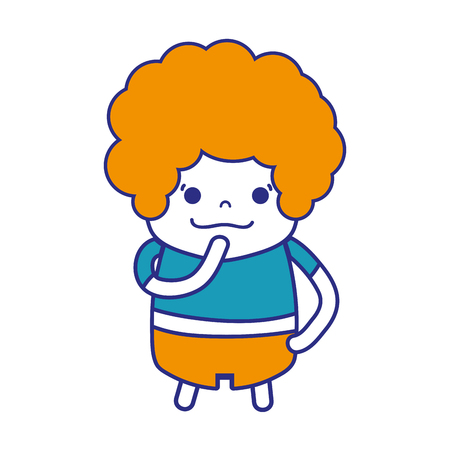 colorful boy with curly hair and thinking face vector illustration
