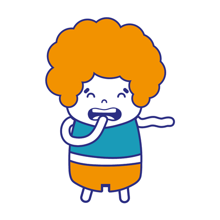 colorful boy with curly hair and disgusted face vector illustration Çizim