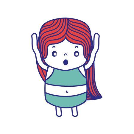 colorful girl wth long hair and scared face vector illustration