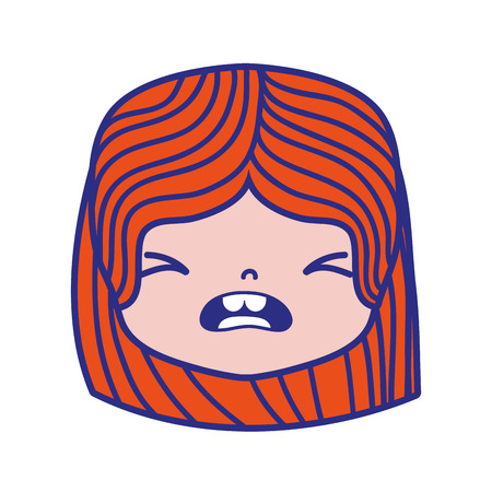 Colorful girl head with hairstyle and pity face vector illustration.