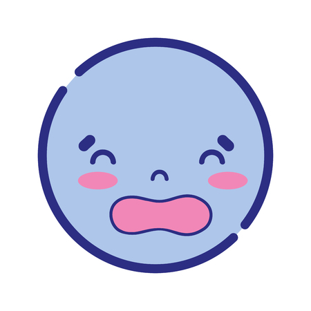 colorful kawaii head with cute disgusted face vector illustration