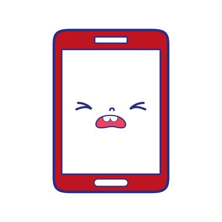 kawaii coloré smartphone illustration vectorielle de pitié mignon visage