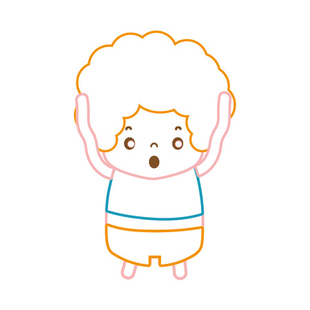 color line boy with curly hair and scared face vector illustration  イラスト・ベクター素材