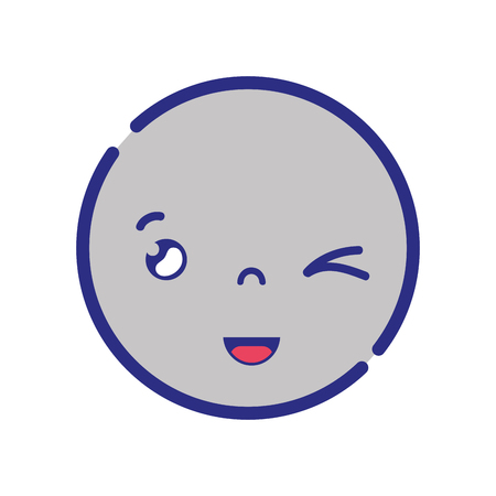 colorful kawaii head with cute funny face vector illustration