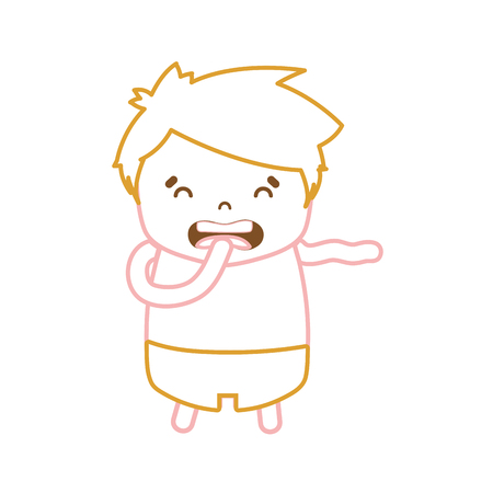 color line boy with hairstyle design and disgusted face vector illustration