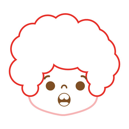 color line boy head with curly hair and surprised face vector illustration