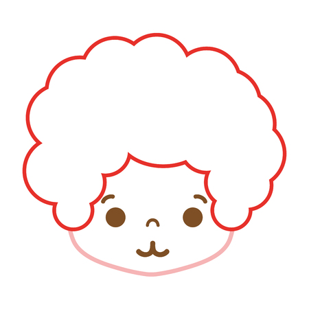 color line boy head with curly hair and tender face vector illustration