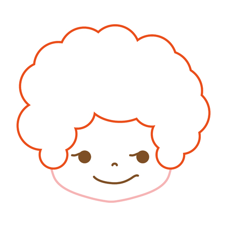Colored  line boy head with curly hair and rogue face vector illustration.