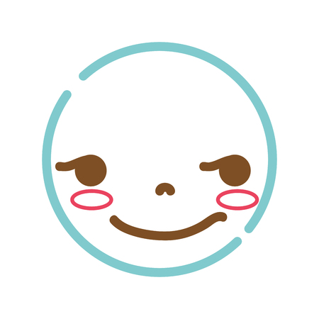 color line kawaii head with cute rogue face vector illustration