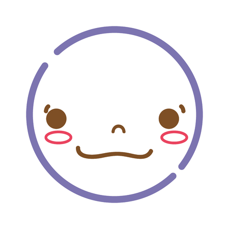 color line kawaii head with cute happy face vector illustration 일러스트