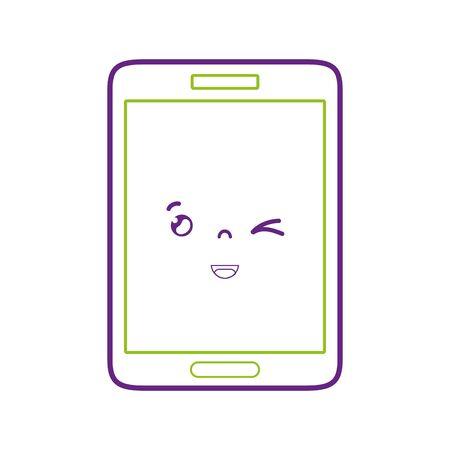 Ligne colorée kawaii smartphone illustration vectorielle de drôle de tête