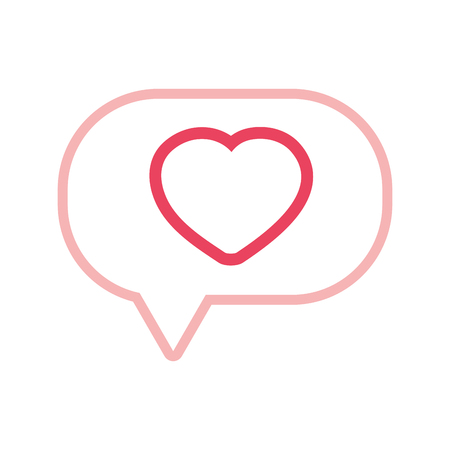 Colored line heart inside chat bubble text message vector illustration.