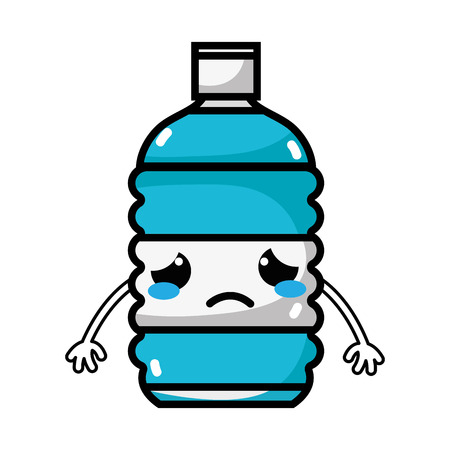 sad and tender bottle wather kawaii vector illustration Illustration