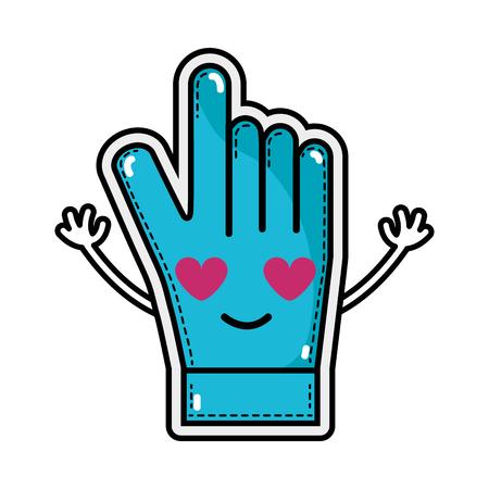 in love and cute glove sportwear kawaii vector illustration