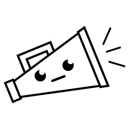 Line sirius and cute megaphone object kawaii vector illustration. Illustration