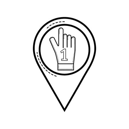 Line sport glove with number one symbol vector illustration. Illustration