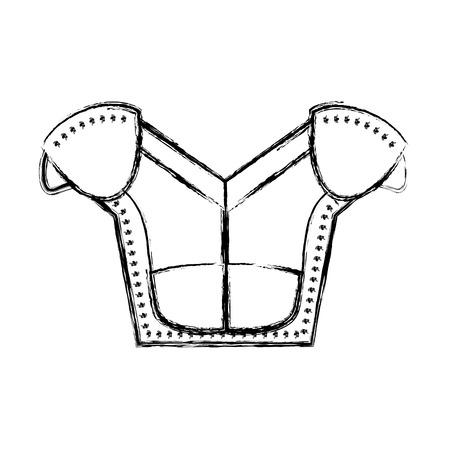 Line figure shoulder pads protection to play american football vector illustration. Ilustração