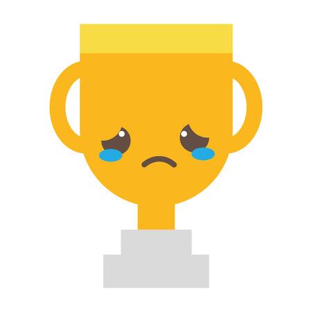 Colorful sad and cute cup prize kawaii vector illustration.