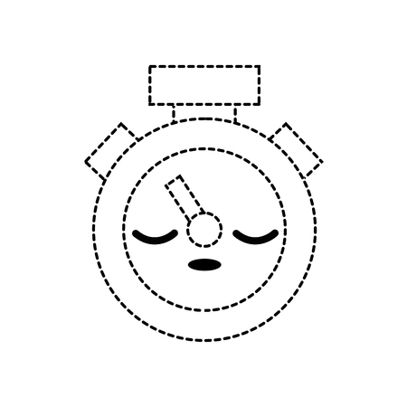 dotted shape sleep and cute chronometer object kawaii vector illustration