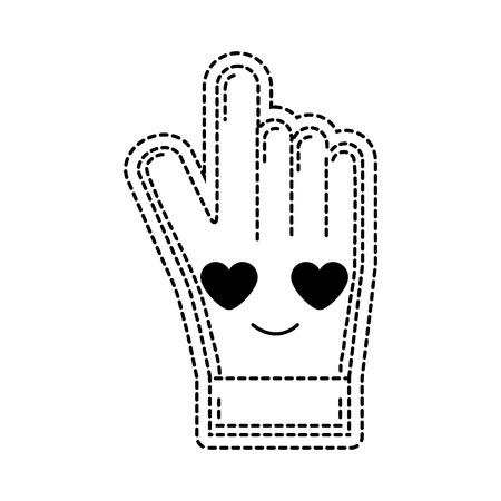 dotted shape in love and cute glove sportwear kawaii vector illustration Illustration