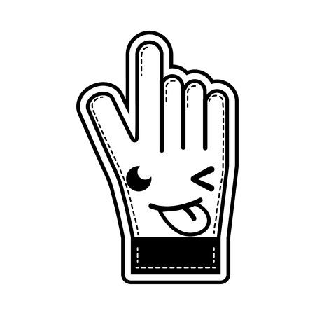 Contour funny and cute glove sportwear kawaii vector illustration.