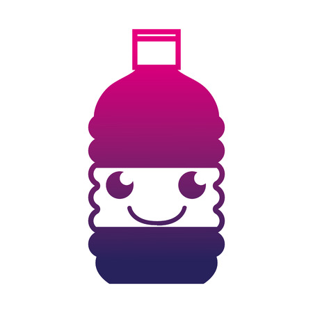 Silhouette of happy and tender bottle water kawaii vector illustration. Illustration