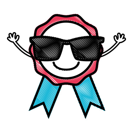 grated happy medal prize  with sunglasses Иллюстрация