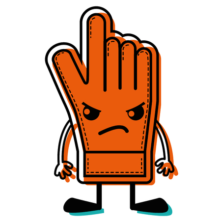 color angry and cute glove sportswear  vector illustration