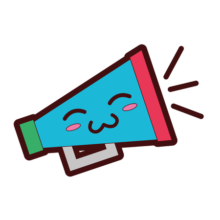 lijn kleur zacht en schattig megafoon object vector illustratie