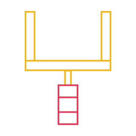 Colored line goal post to football field sport vector illustration.
