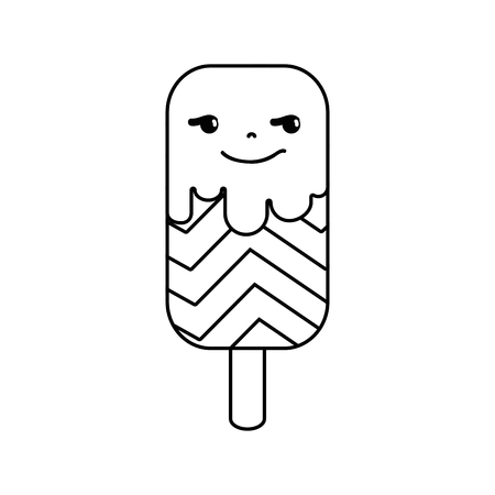 Line rogue and sweet ice lolly and rainbow kawaii. 向量圖像
