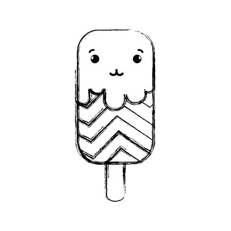 figure tender and sweet ice lolly and rainbow kawaii Ilustração