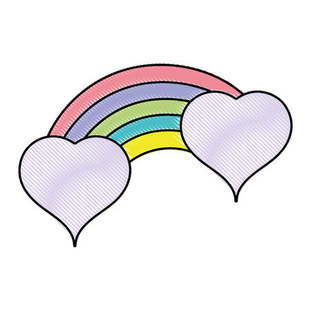 Grated bright rainbow with clouds in heart shapes vector illustration.