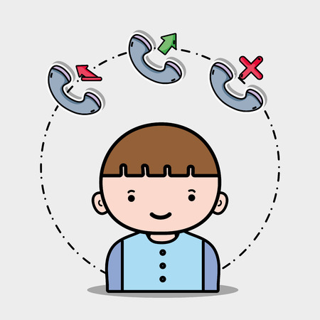 Boy with phone call icons app vector illustration.