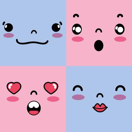 set emotion emoji character faces message vector illustration