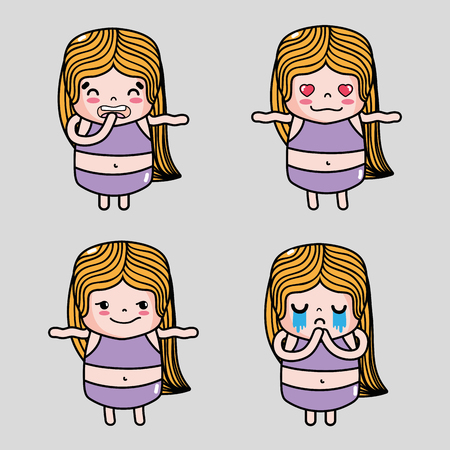 set girl emoticon faces character message Ilustração