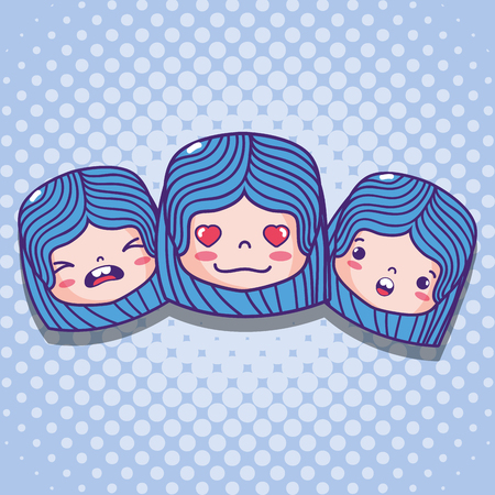 emoticon girls faces with character message Illustration