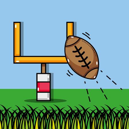 american football ball and goal post vector, illustration