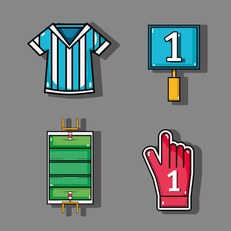 set amercan football elements to competition vector illustration Illustration