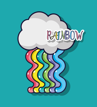 A cute rainbow design with cloud in the sky vector illustration