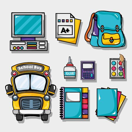 Set school tools design to study and learn illustration.