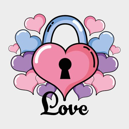 Lad-lock heart design with love decoration vector illustration.