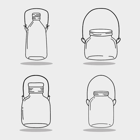 A set jar mason glass with different shapes vector illustration Ilustração