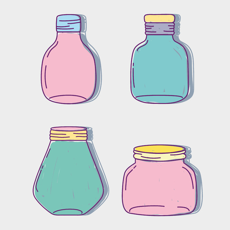 A set jar mason glass with different shapes vector illustration Ilustração
