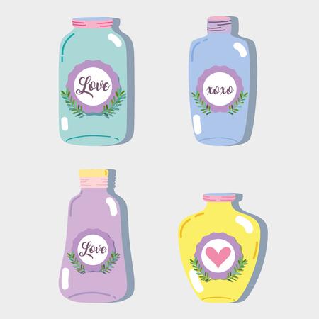 A set jar mason glass with different shapes vector illustration Illustration
