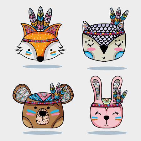 set cute animal tribal in the forest Vector illustration. Vettoriali